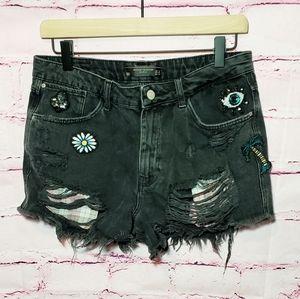 Zara Patch Embellished Jean Shorts